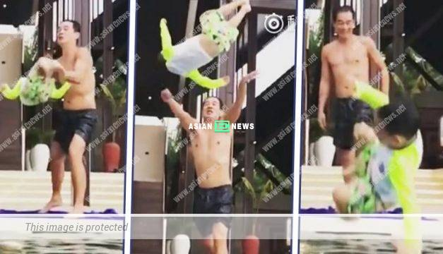 Dangerous Move: Jordan Chan throws his son, Jasper into the water