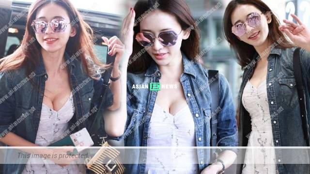 Lin Chi Ling resembles a fairy in casual wear at Beijing airport