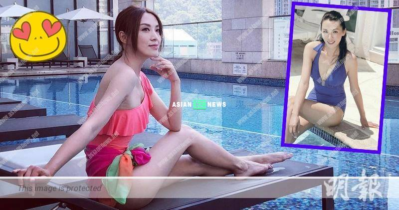 44 years old Alice Chan wears swimsuit and shows a pair of long legs