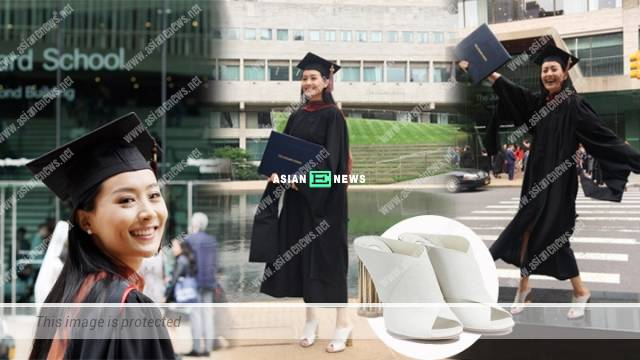 Fala Chen wears Ferragamo shoes at the graduation ceremony