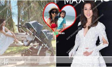 Expecting Linda Chung wears a white dress; Her daughter, Kelly looks at the camera