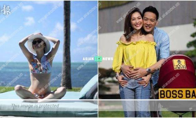 Expecting Sarah Song remains fit in bikini