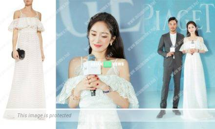 Yang Mi wears white long dress and looks like a fairy
