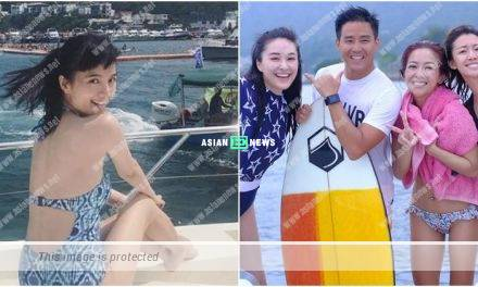 Anjaylia Chan wears swimsuit and plays dragon boat