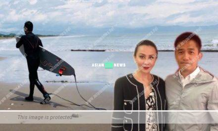 55 years old Tony Leung goes for water surfing; Carina Lau accompanies him