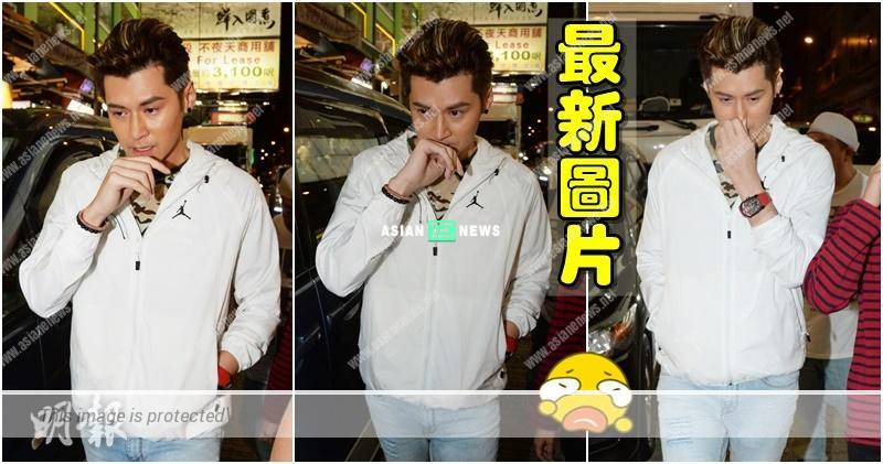 Carlos Chan's tears stream down on his face at a location shooting in Mong Kok