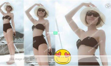 Nancy Wu goes to sea in black colour bikini