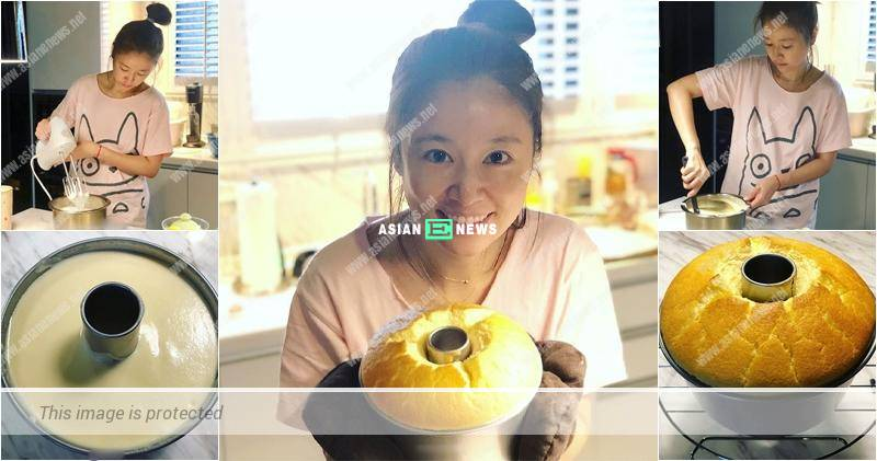 Noble mother, Ruby Lin bakes a cake for her 1 year old daughter