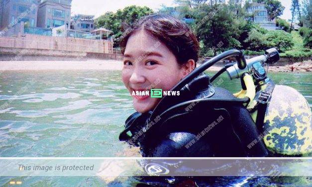 Jennifer Yu loses the diving equipment during her first lesson