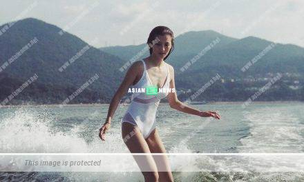 Karena Ng plays water skiing; Netizens comment she is very skinny