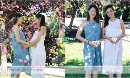 Expecting Leanne Li and Linda Chung make heart shape poses together