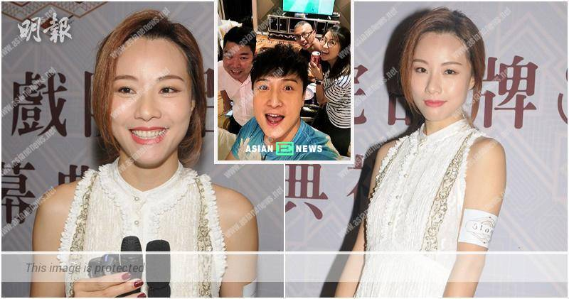 Alex Fong uses his hand to block his face; Stephy Tang reckons it is unrelated to her new romance
