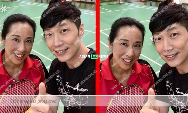 Lucky Steven Ma plays badminton with Loletta Chu
