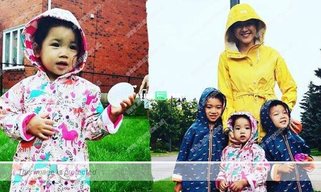 Aimee Chan celebrates with her children by getting wet on rainy day?