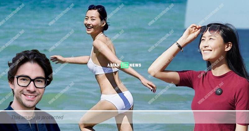 Fala Chen wears white bikini at the beach in France