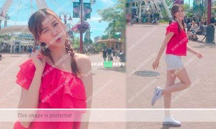 Moon Lau reveals her long legs at the theme park