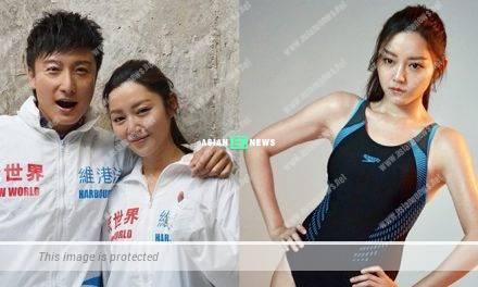 Alex Fong and Michelle Wai shoot swimming advertisement together