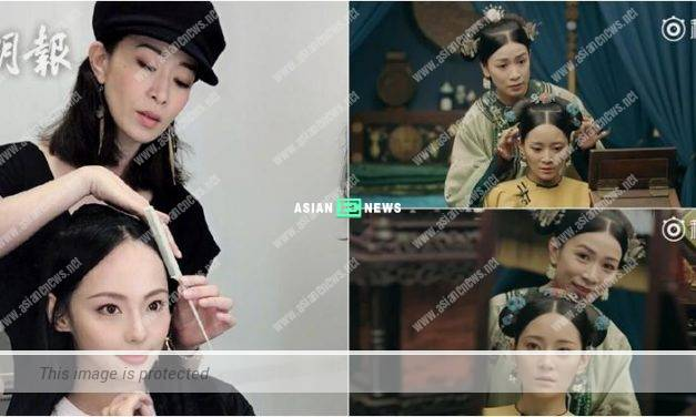 Charmaine Sheh helps Jenny Zhang to comb her hair again