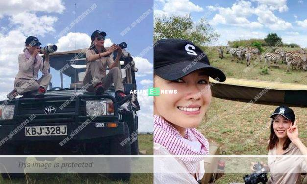 Elaine Yiu and Selena Lee take photos with zebras in East Africa