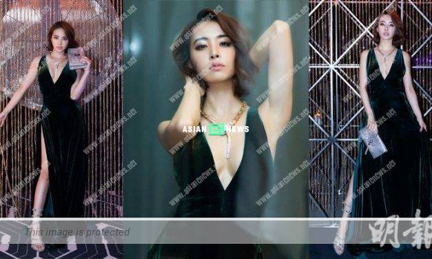 Jolin Tsai wears deep V dress and shows her sexiness at a party