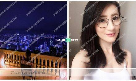Rosina Lam enjoys the overview of Hong Kong at her house balcony