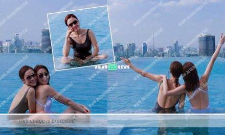 Elaine Yiu and Selena Lee go for swimming together in Bangkok