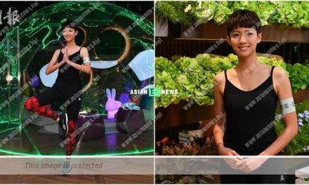 Sisley Choi demonstrates yoga while promoting new property