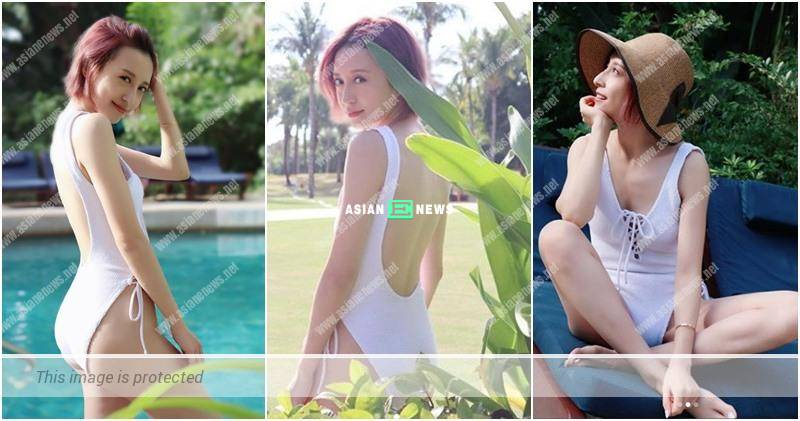 Summer season is still here? Katy Kung goes for a swim for relaxation