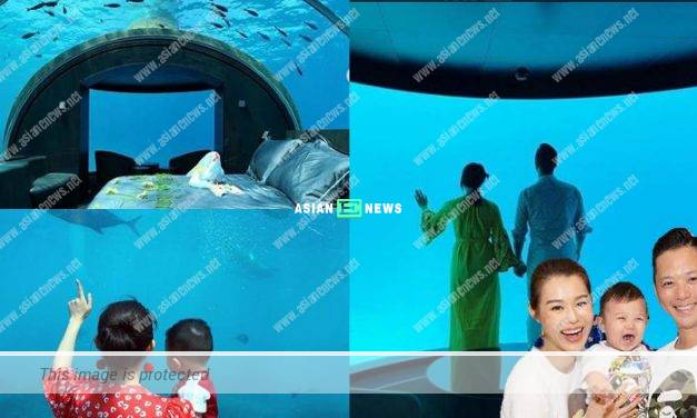 A luxurious vacation: Myolie Wu and her family stay in an under water resort