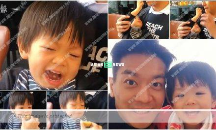 Chris Lai's son gives him lemon to eat