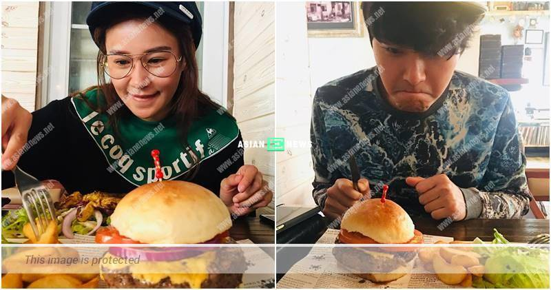 Loving couple, Priscilla Wong and Edwin Siu eat burgers and play badminton together