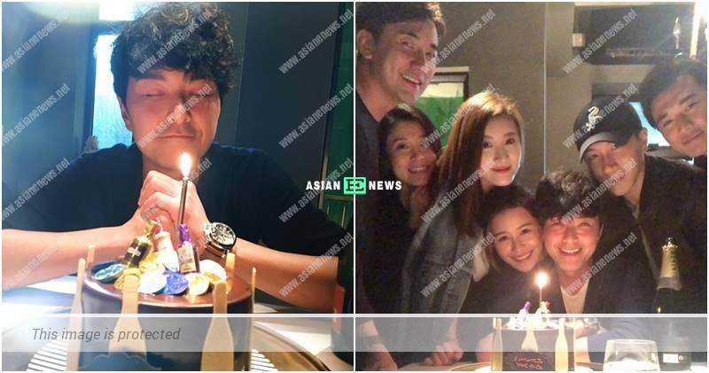 Priscilla Wong tried to blow the candles on Edwin Siu's birthday
