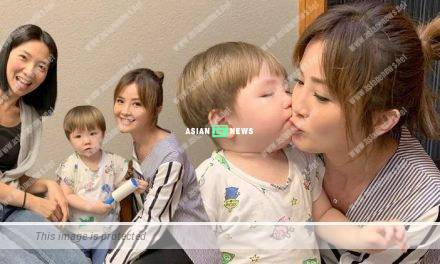 Stephanie Che's son gives a kiss to Charlene Choi