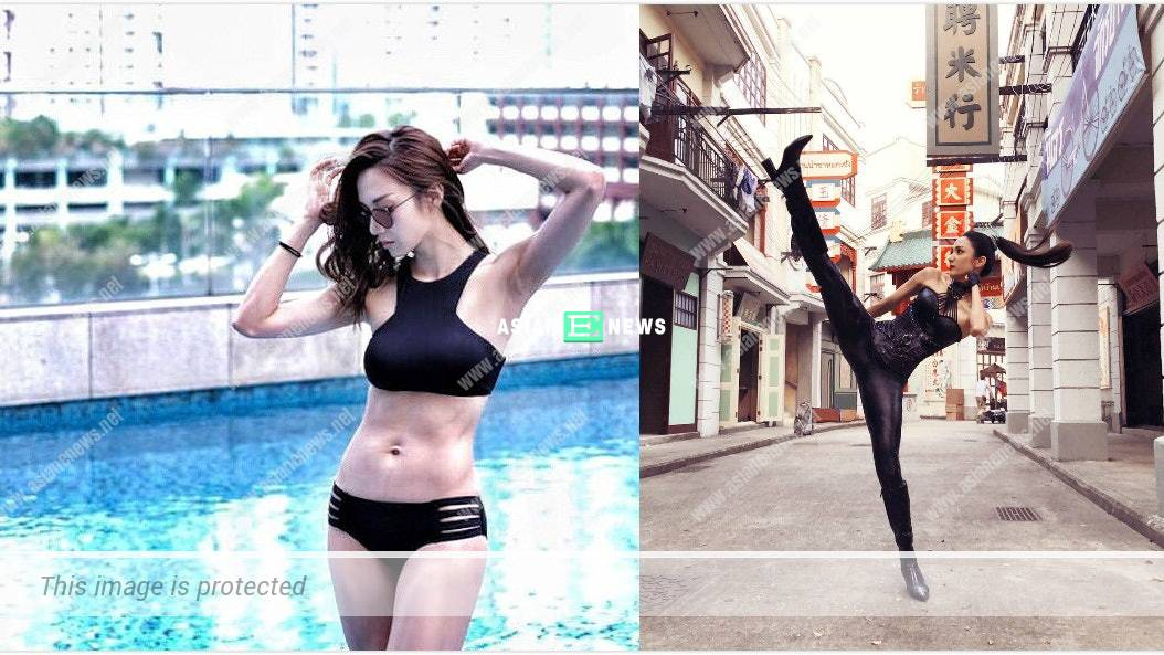 Grace Wong shows her fit body figure and legs strength