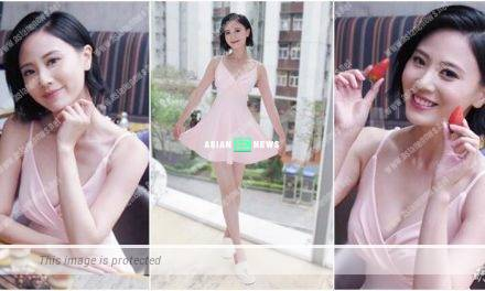 Rebecca Zhu wears a revealing pink dress to shoot a slimming advertisement