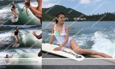 Chrissie Chau learns surfing and enjoys the good weather