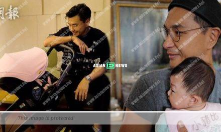 Resembles daddy or mummy? Ruco Chan shows his daughter's side face