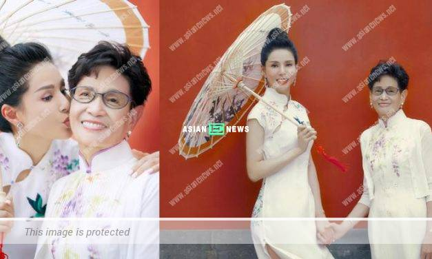 Carman Lee and her mother wear cheongsam revealing their elegance