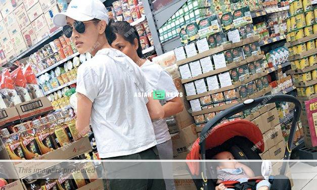 Grace Chan took her 5 months son to buy groceries at the supermarket