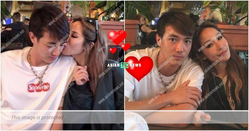 Elva Hsiao and her 24-year-old boyfriend showed their love in the air
