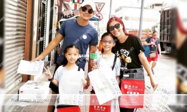 Noble father Jack Wu accompanied his daughters to sell fund-raising flags