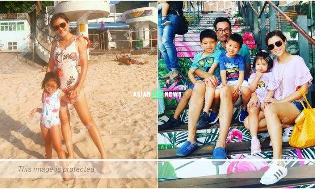 Aimee Chan and her daughter wore swimsuits revealing their long pair of legs