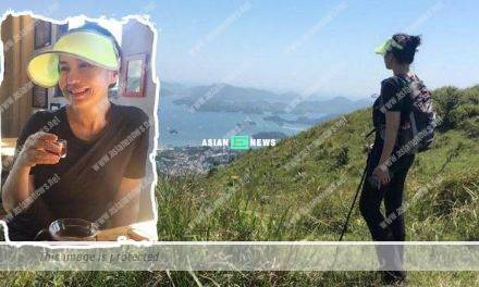 Cherie Chung drinks coffee while going for hiking