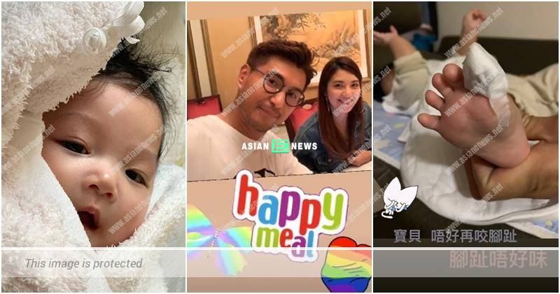 Ruco Chan's daughter loves to bite her toe nail