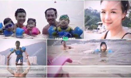 Aimee Chan and Moses Chan took their children to the beach