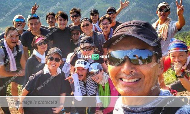 Chow Yun Fat goes for hiking and enjoys a feast with his team