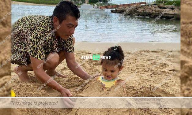 Edison Chen shows his fatherly love when playing sand with his daughter