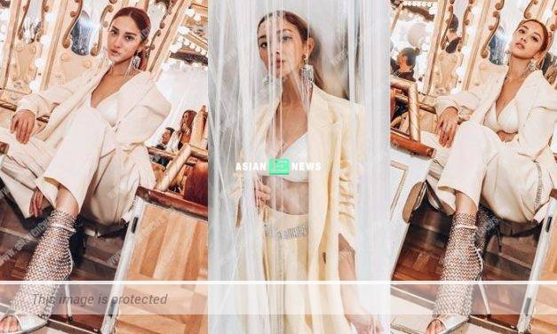Sexy Grace Chan shows the lingerie with a jacket