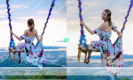 Sharon Chan resembles a fairy when sitting on a swing
