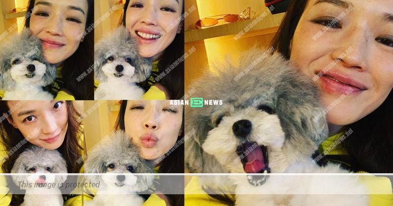 Shu Qi shows her cute puppy and has skin allergy problem again